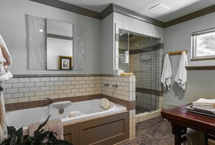 Craftsman Master Bathroom with Umbra Flip Wall-Mount Multi Hook, Natural, Master bathroom, Crown molding, Rain shower