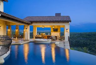 Mediterranean Swimming Pool with Infinity pool, Casement, Outdoor kitchen
