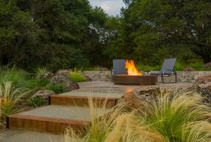 Modern Patio with exterior stone floors, Raised beds, Pathway, Fire pit