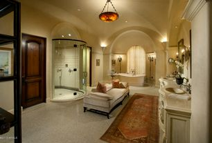 Mediterranean Master Bathroom with Sandstone, specialty door, High ceiling, Wall sconce, Ms international - blanco tulum