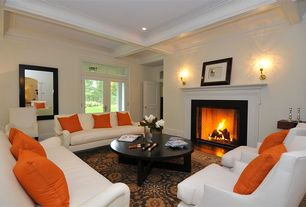 Traditional Living Room with Box ceiling, Fireplace, Carpet, specialty door, can lights, Cement fireplace, Wall sconce