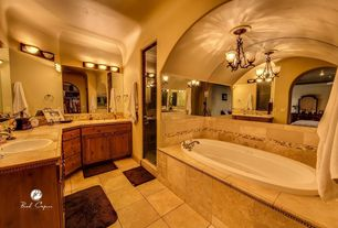 Traditional Master Bathroom with wall-mounted above mirror bathroom light, Flush, stone tile counters, Wall Tiles, Shower