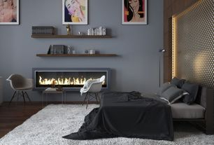 Contemporary Master Bedroom with Wood Leg White Bucket Seat Dining Arm Chair, Twist Platform Bed - Dark Grey, Hardwood floors