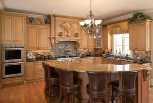 Traditional Kitchen with L-shaped, MS International Solarius Granite, Complex granite counters, Slate Tile, Flush, Chandelier