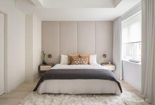 Modern Master Bedroom with Hardwood floors, double-hung window, Standard height