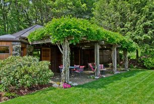 Traditional Patio with Covered patio, Rhododendron Bush, Private backyard, Fence, Grass, exterior brick floors, Louvered door