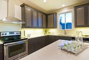 Contemporary Kitchen with L-shaped, dishwasher, Flush, Wall Hood, can lights, full backsplash, Kitchen island, Casement