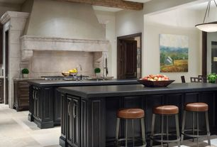 Craftsman Kitchen with Simple granite counters, limestone tile floors, Undermount sink, Flush, Exposed beam, specialty door