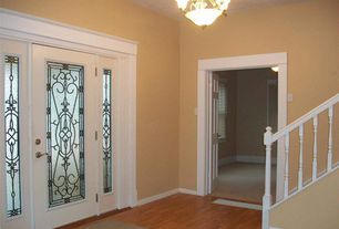 Traditional Entryway with Hardwood floors, Chandelier, French doors