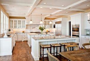 Traditional Kitchen with Flat panel cabinets, built-in microwave, Paint 1, Glass panel, Breakfast nook, Farmhouse sink, Flush