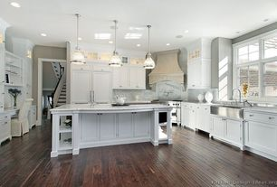 Traditional Kitchen with Restoration hardware - clemson classic single pendant - satin nickel, Kitchen island, Inset cabinets