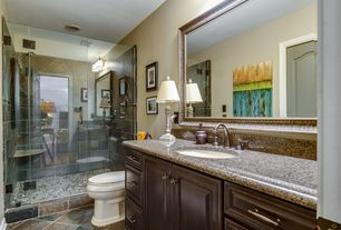 Traditional 3/4 Bathroom with Simple Granite, Arizona tile, BARCELONA, Granite, Kitchen Cabinet, Cambridge Cabinet Door Style