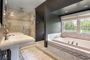 Traditional Master Bathroom with complex marble tile floors, Master bathroom, Pedestal sink, frameless showerdoor