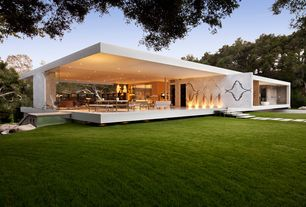 Contemporary Exterior of Home with Indoor/outdoor living, Geometric exterior, Covered patio