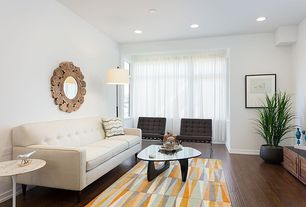 """Contemporary Living Room with Barcelona chair by knoll, Noguchi table, Hardwood floors, Luna 78"""" condo sofa by truemodern"""