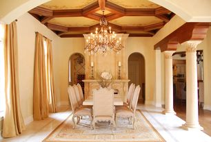 Mediterranean Dining Room with High ceiling, Exposed beam, Michael Amini Lavelle Side Chair, simple marble floors, Chandelier