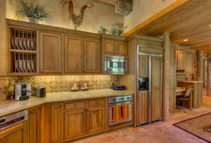 Eclectic Kitchen with built-in microwave, mexican tile backsplash, One-wall, High ceiling, Limestone counters, can lights