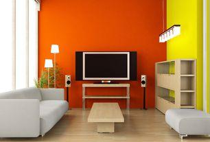 Modern Living Room with Laminate floors, High ceiling, Birch wood floor, Birch furniture, Paint 2, Paint 1, Pendant light