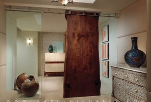 Contemporary Hallway with Concrete floors, Goby Walnut & Western Hardwoods Live Edge Walnut Slab, Built-in bookshelf