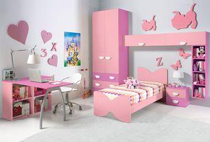 Contemporary Kids Bedroom with Standard height, Paint 2, Concrete floors, Paint 1, Built-in bookshelf, Art desk