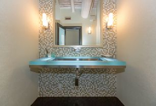 Contemporary Powder Room with Undermount sink, Ceramic Tile, Powder room, George kovacs - 2 light tube wall sconce