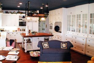 Country Kitchen with double wall oven, built-in microwave, Flush, Undermount sink, U-shaped, electric cooktop, Pendant light