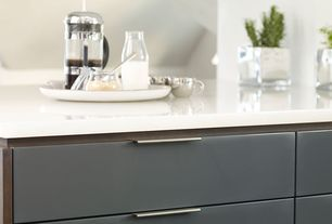 Contemporary Kitchen with Destiny: slab cabinets, Pental quartz sparkling white quartz counter tops, French Press