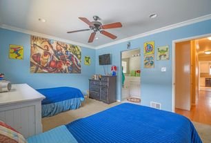 Traditional Kids Bedroom with no bedroom feature, can lights, Carpet, Standard height, Ceiling fan, Crown molding