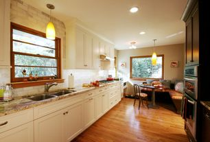 Traditional Kitchen with Oak - Butterscotch 2 1/4 in. Solid Hardwood Strip, Pendant light, Subway Tile, U-shaped, flush light