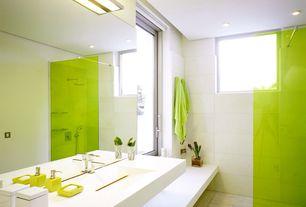 Modern 3/4 Bathroom with stone tile floors, Handheld showerhead, Shower, Undermount sink, Corian counters, Standard height
