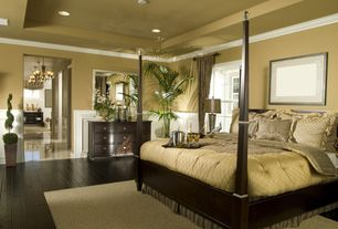 Traditional Master Bedroom with Wainscotting, Standard height, Crown molding, Paint, Hardwood floors, double-hung window