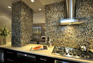 Contemporary Kitchen with Flush, Corian counters, European Cabinets, One-wall, Wine refrigerator, Ceramic Tile