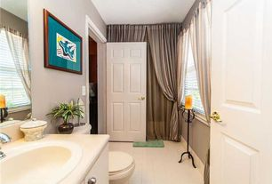 Traditional Powder Room with limestone tile floors, Flush, Casement, Limestone, stone tile floors, drop-in sink, Powder room