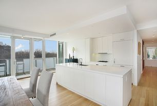 Contemporary Kitchen with Kitchen island, Bruce Oak Rustic Natural Hardwood, Balcony, flush light, European Cabinets, Flush