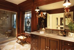 Traditional Master Bathroom with Undermount sink, Stained glass window, partial backsplash, Standard height, French doors