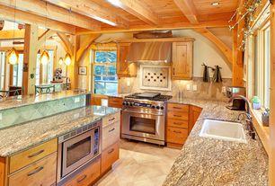 Rustic Kitchen with limestone tile floors, Limestone Tile, Breakfast bar, Floor And Decor Dakar Zaino Porcelain Tile, Flush