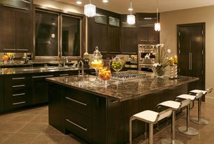 Contemporary Kitchen with Kitchen island, Breakfast bar, Soapstone counters, L-shaped, Emperador dark polished marble, Flush
