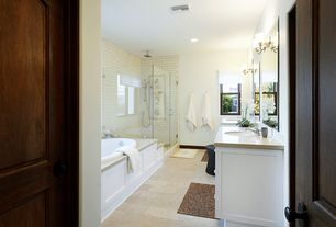 Contemporary Master Bathroom with OregonTile Porcelain Gotha Natural Stone Look Tile, Corian counters, frameless showerdoor