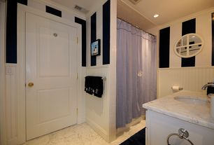 Cottage Full Bathroom with specialty door, E by Design Lilac Shower Curtain, Complex marble counters, Wall sconce