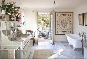 Traditional Master Bathroom with Paint 1, Hampshire 12 in. x 12 in. Gauged Slate Floor and Wall Tile, Clawfoot, Bathtub