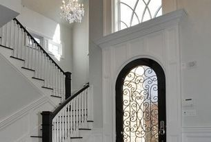 Traditional Entryway with French doors, Chandelier, Maria theresa 13-light 2-tier matte silver/crystal chandelier, Paint 1