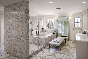 Traditional Master Bathroom with Wall sconce, My Chic Nest Betta Bedroom Bench, Raised panel, Complex marble counters, Flush