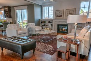 Contemporary Living Room with Hardwood floors, Box ceiling, Built-in bookshelf, Crown molding