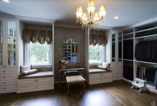 Traditional Closet with Butler Vanity Stool - Mirror, Window seat, Mirrored Bedroom Vanity Table, Hardwood floors, Chandelier