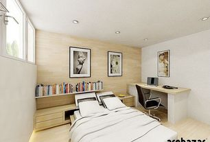 Modern Master Bedroom with Strand woven textured bamboo natural wire brushed, Built-in bookshelf, Custom built-in desk