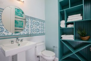 Cottage 3/4 Bathroom with Ceramic wall tile, Paint 1, Paint 2, Kohler tresham pedestal combo bathroom sink, Open shelving