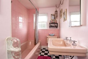 Traditional Full Bathroom with large ceramic tile floors, Bathtub, drop in bathtub, curtain showerdoor, shower bath combo