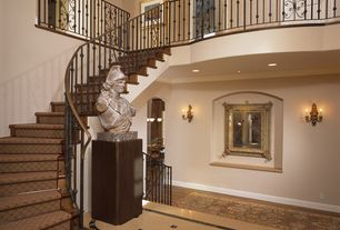 Traditional Staircase with Chandelier, Cathedral ceiling, Hardwood floors, Loft