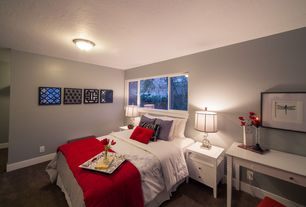 Contemporary Guest Bedroom with flush light, Carpet, Harbor White Two-Drawer Nightstand