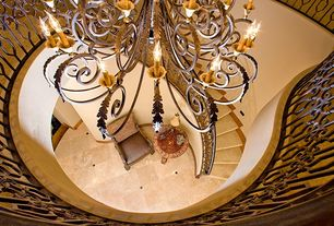 Mediterranean Staircase with High ceiling, Concrete tile , Chandelier